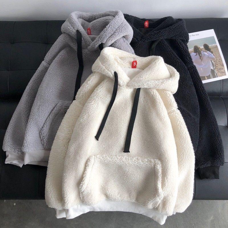 oversize Lamb velvet winter clothes women sweatshirt Korean style plus velvet hooded loose tops long sleeve harajuku hoodie 1