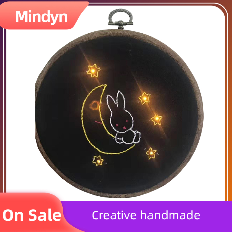 Handmade Electronic Embroidery Material Package Cute Glowing Rabbit Pattern DIY Gift Home Store Multi-occupation Decoration