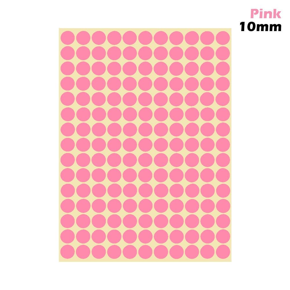 1 лист 10 мм/19 мм цветные наклейки в горошек круглые круги точки бумажные клеящиеся этикетки офисные школьные принадлежности - Цвет: pink 10mm