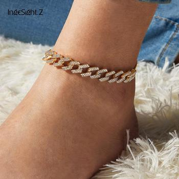 IngeSight.Z 4 Colors Charm Luxury Shiny Rhinestone Anklet Bracelet Adjustable Crystal AnkletS On Foot Barefoot Sandals Jewelry