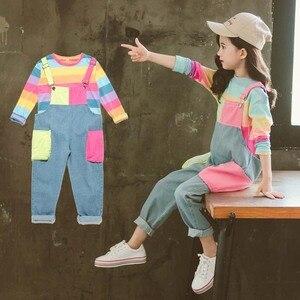 Image 4 - ילדי בגדי פסי T חולצה & סרבל בנות תלבושות סרבל ג ינס בנות חליפת ילדים מזדמנים סתיו חורף חליפות בנות