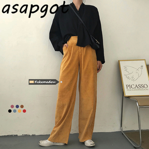 Asapgot Classic Vintage High Waist Yellow Corduroy Wide Leg Pants Women Fall New Solid Slim Long Full Length Straight Pants