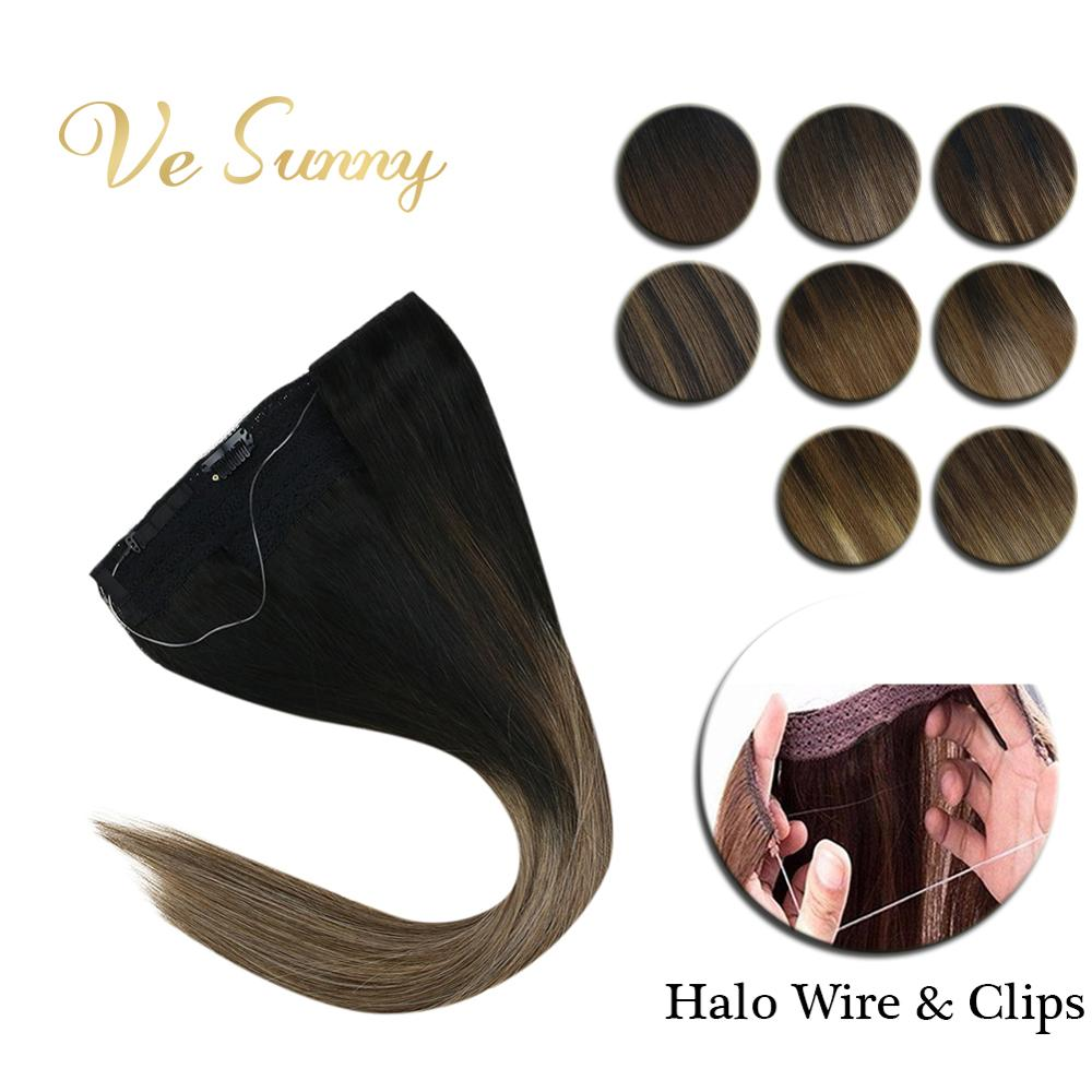 VeSunny Invisible Wire Halo Hair Extensions Human Hair Flip In Fish Line With 2 Clips On Balayage Dark Color Brown & Blonde Hair