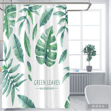 Green Tropical Plants Shower Curtains Bathroom Polyester Waterproof Curtain Leaves Printing for
