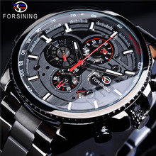 Winner Three Dial Calendar Display Alloy Men Automatic Mechanical Skeleton Wrist