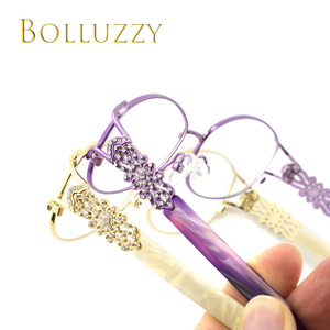 Image 4 - נשים של תואר משקפיים מסגרת עם יהלומים ריינסטון זהב חלול החוצה אופטי משקפיים מסגרת עם פרח עבור נשים 2399