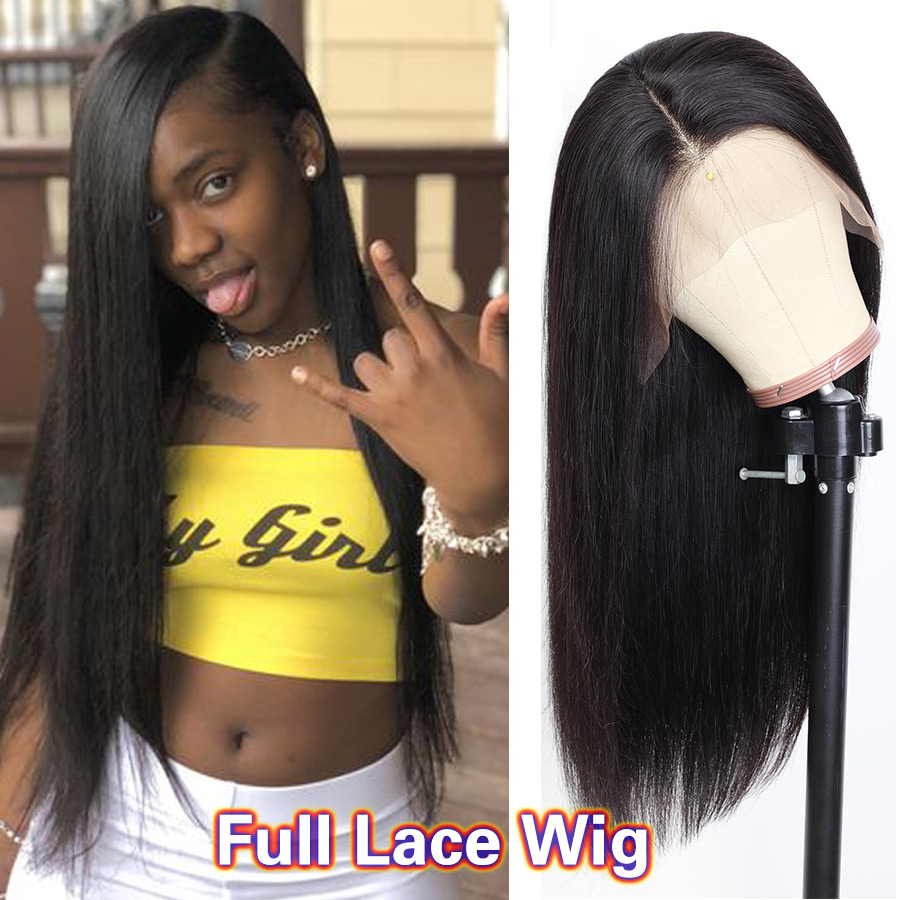 Glueless Full Lace Wigs For Women RXY Pre Plucked Full Lace Human Hair Wigs With Baby Hair Brazilian Straight Wig Remy Lace Wig