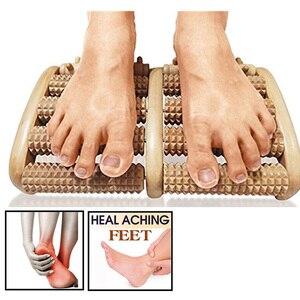 Image 1 - Rouleau de Massage pour les pieds en bois brut, 5 réflexologie, appareil de Massage relaxant, Anti Cellulite, cadeau, Spa, soins pour les pieds