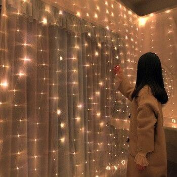 Adornos navideños para el hogar 3x0,5 M/3x2 M/3x3 M LED cortina de alambre de cobre Cadena de hadas de San Valentín guirnalda Año Nuevo 2020