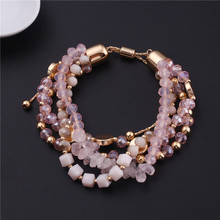 Bohemian Beach Glass Jewelry Stone Bracelet Woman Natural Stone Beads Bangle Jewelry Glass Bead Semi-precious Bracelet цена