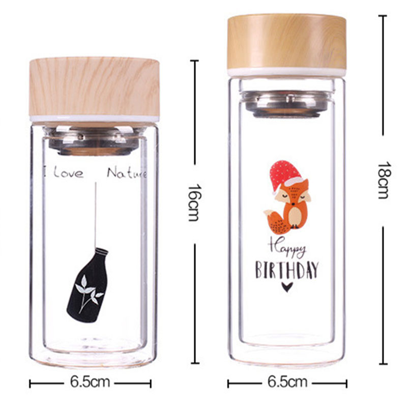 Glass Water Bottle with Stainless Steel Tea Infuser Filter Double Wall Glass Outdoor Sports Travel Water Tumbler Wood Grain Lid