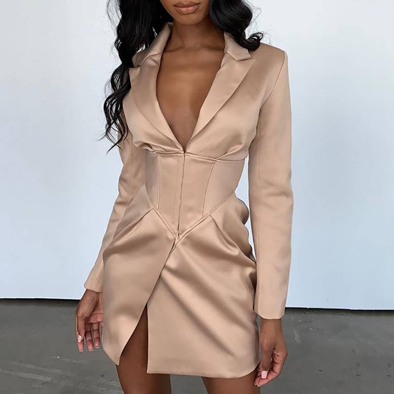 Deep V Neck Autumn Long Blazers Coats and Jackets Women Turn-Down Collar Long Sleeve Covered Button Up Causal Coat Outwear 2019