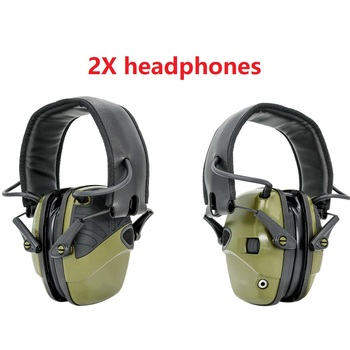 Two green electronic shooting ear muffs anti-noise enhanced headphones tactical hunting headphones professional glasses ear muff samson professional z35 closed back studio headphones high protein leather comfortable over ear studio monitor headphones