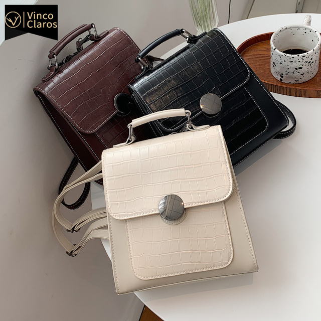 Stone Pattern Mini Backpack Women Fashion Leather Backpacks for Women Trend Designer Backpack Purse Travel Small Cute Backpack 1