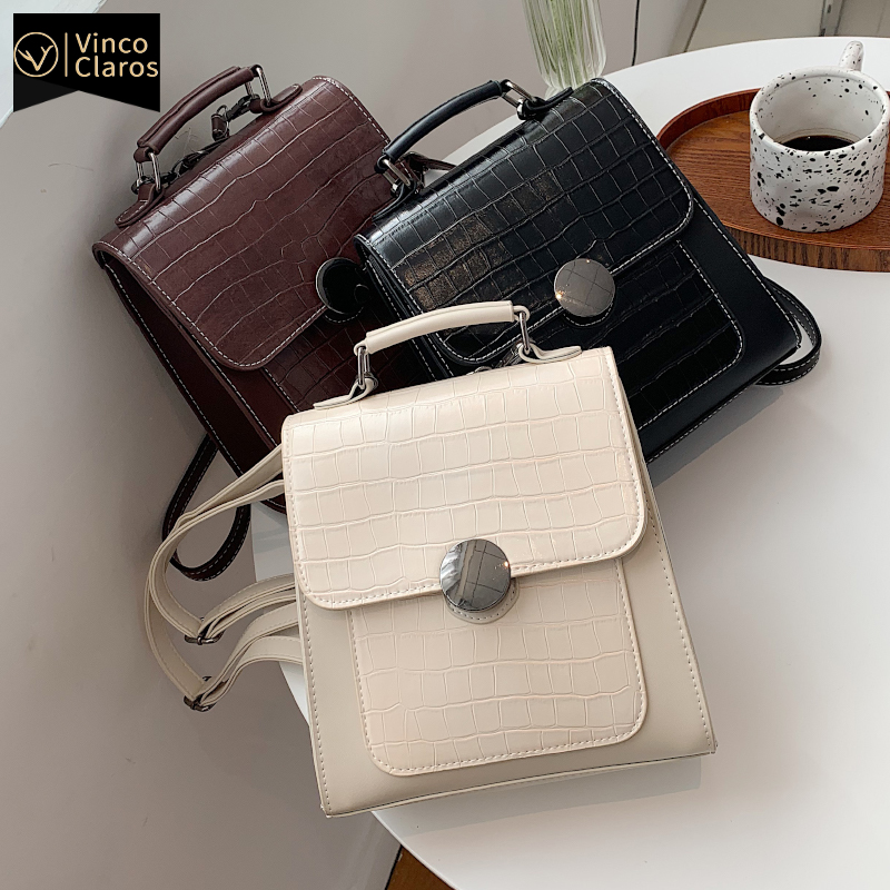 Stone Pattern Mini Backpack Women Fashion Leather Backpacks for Women Trend Designer Backpack Purse Travel Small Cute Backpack