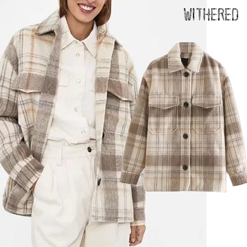 Withered Winter Woollen Cloth Blouse Women England Vintage Plaid Oversize Botfriend Jacket Casaco Thick Blusas Mujer De Moda Top