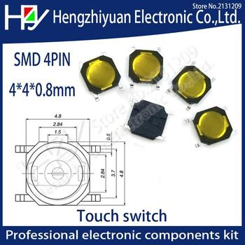 4*4*0.8mm Car Remote Control Key Switches Buttons Touch Tactile Push Button Switch Tact 4 Pin Switch Micro Switch SMD 100 pcs box of tact switch 4 legged vertical patch 6 6 4 1 4 3 5 6 6 5 7 5 8 9 3 10 5 12mm micro push button switch key switch