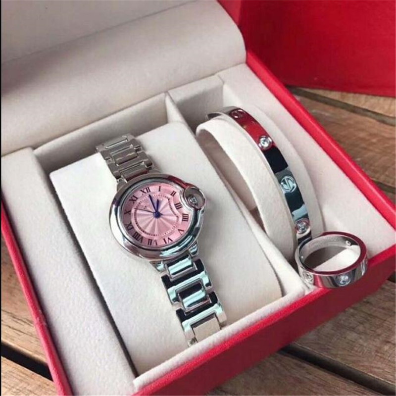 Fashion New Three Piece Women's Quartz Wristwatch Women's Wristband Ring Dial Roman Numeral Classic Quartz Stainless Steel Wrist