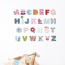 Дисней Микки Минни красочные 26 букв Алфавит настенные наклейки
