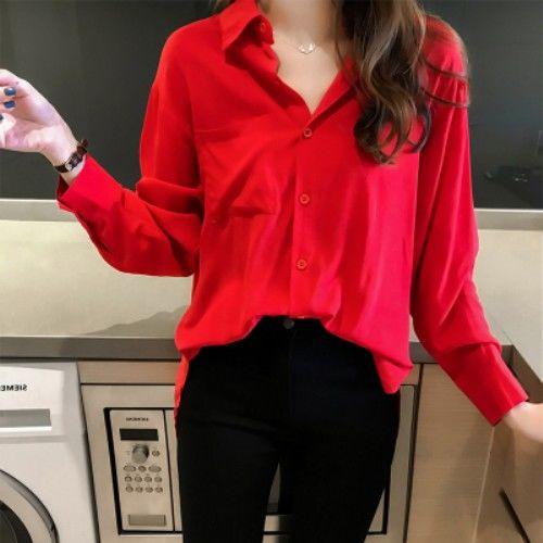 2020 Autumn Elegant Long Sleeve Solid Chiffon Blouse Female Work Wear Shirts Blouse Turn-down Collar Shirts Plus Size 4XL K113 7