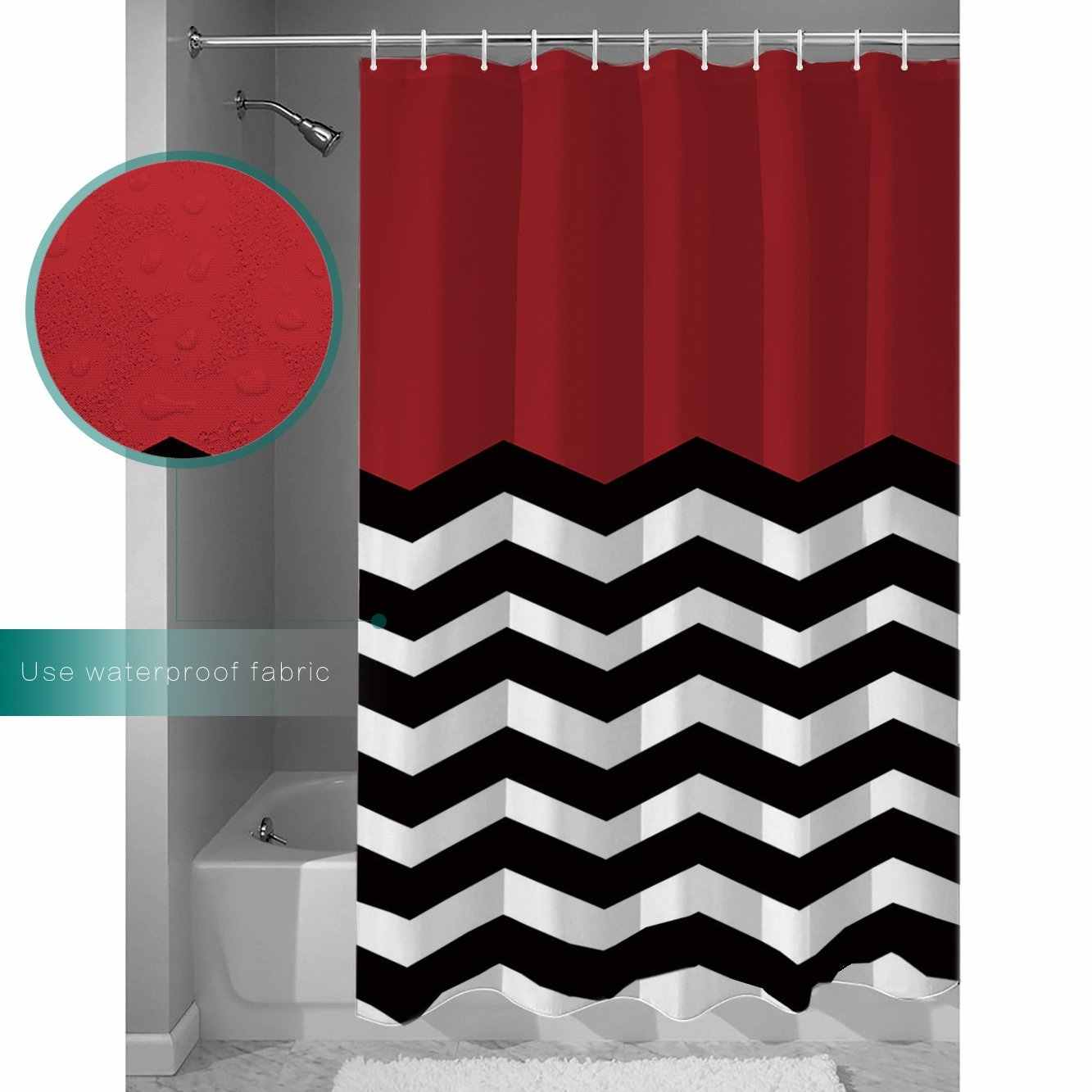 chevron waterproof polyester fabric shower curtain red white black striped mold resistant shower curtains