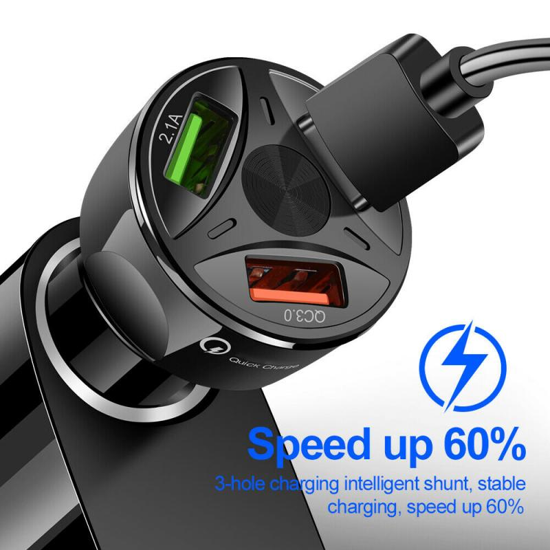 <font><b>Usb</b></font> Car <font><b>Charger</b></font> adapter 3 port <font><b>Usb</b></font> Car <font><b>charger</b></font> LED Display Fast <font><b>Charger</b></font> <font><b>Auto</b></font> Charge for Iphone 11 Samsung S10 Mobile Phone image