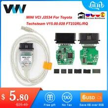 Voor Toyota Mini Vci Tis Techstream V15.00.028 Minivci Ftdi Voor J2534 Obd OBD2 Auto Diagnostische Auto Scanner Tool MINI VCI Kabel
