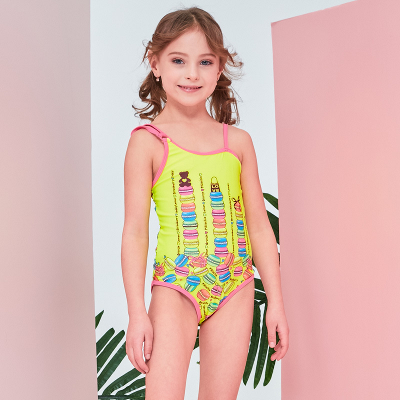 19 Europe And America New Style Hot Sales One-piece Swimming Suit Backless Cartoon Candy Sweet Little Qing Xin Wen Quan Girls KI