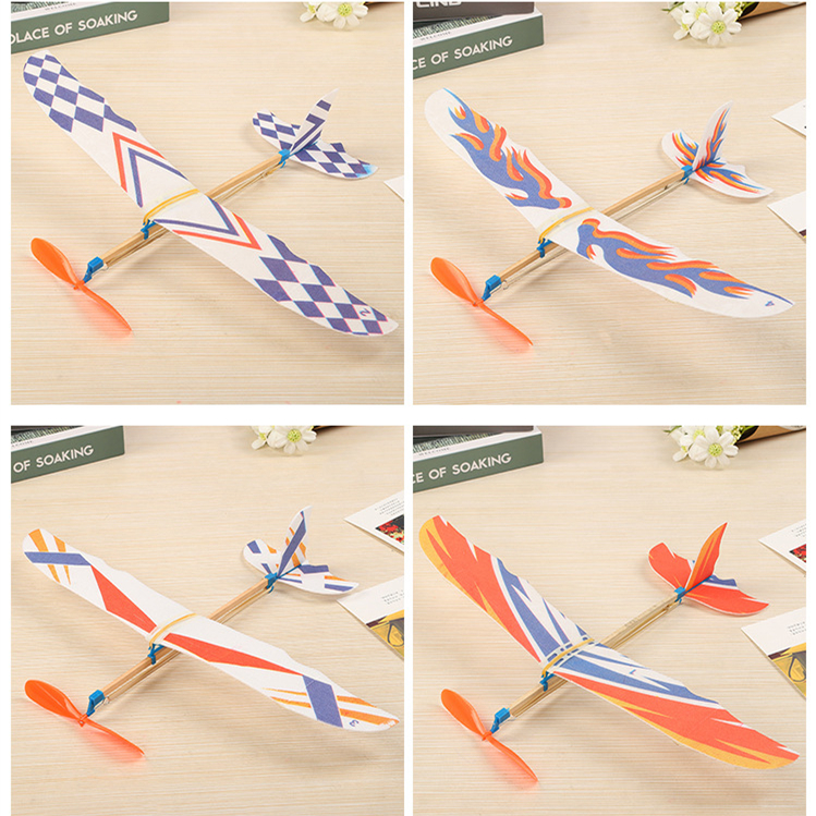 Rubber Bands Power Planes Hand Launch Throwing Foam Inertial Glider Aircraft Outdoor Toys For Child Kids Gifts