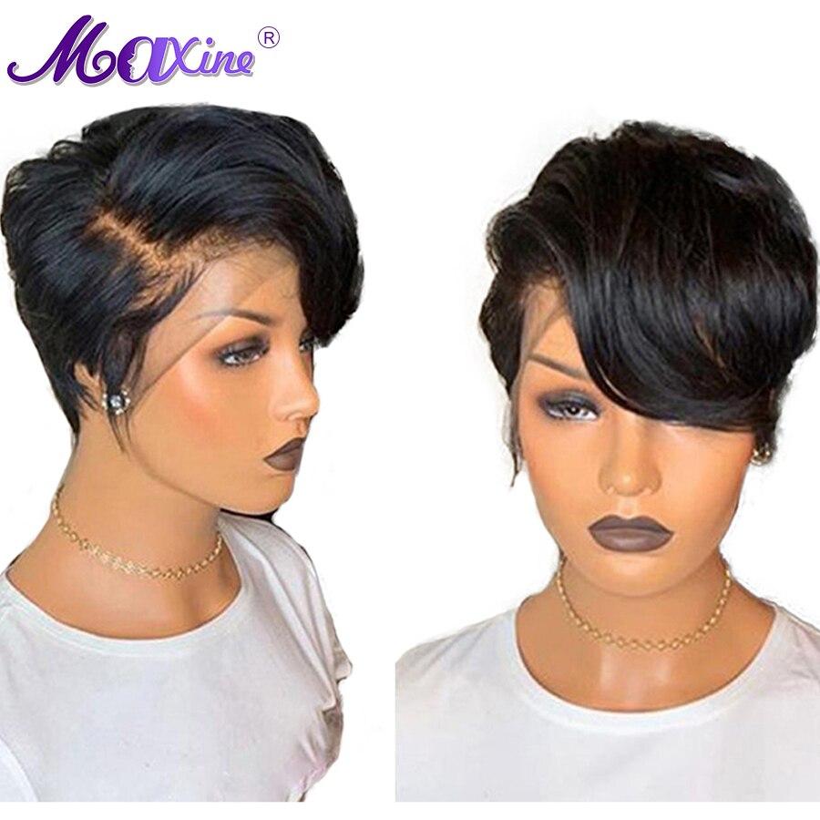 Maxine Pixie Cut perruque courte Bob dentelle avant perruque de cheveux humains pour les femmes noires pré-cueillies avec bébé cheveux Gluless Remy perruque 13x4