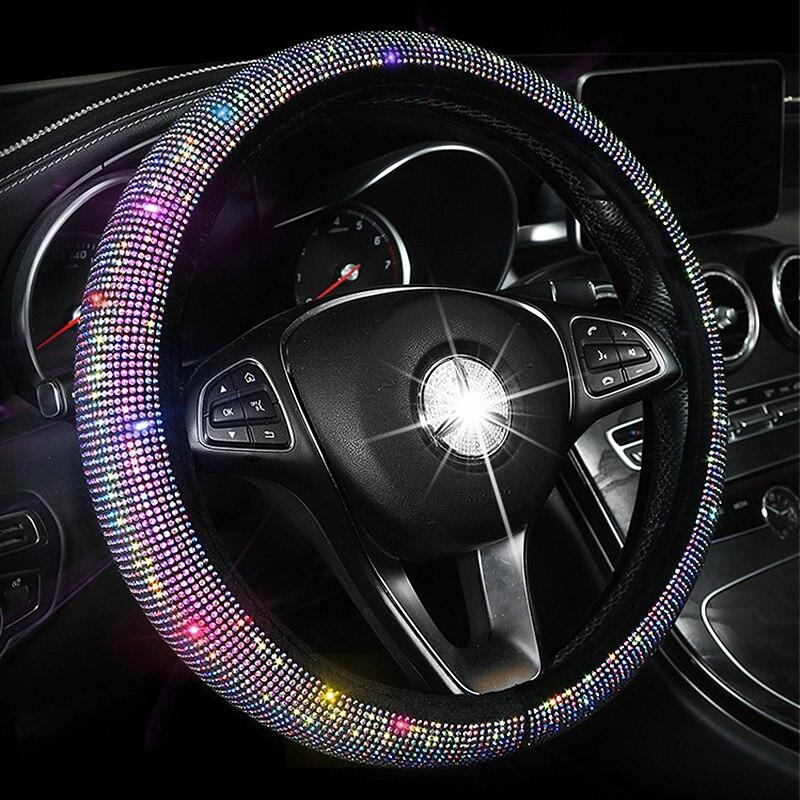 Luxo cristal colorido strass volante do carro cobre feminino diamante carro coberto volante caso interior acessórios