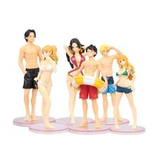 цены 6 PCS/LOT Anime One Piece Swimsuit Luffy  Ace Nami Sanji Vivi Cartoon Model Doll PVC Action Figure Toy Collection Gift