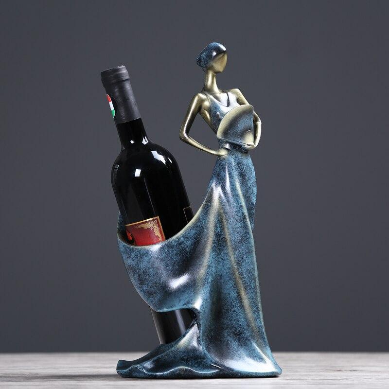 Estante de vino de resina colecciones decoración diosa soporte de vino accesorios decoración de Bar del hogar gran valor de visualización pf91818