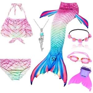 Image 4 - Hot Girls Swimming Mermaid Tail Cosplay Mermaid Costume Swimsuit With or No Monofin Fin Flipper Kids Swimmable Children Swimwear