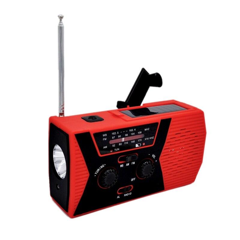 Mini Solar Radio Solar Emergency Flashlight Portable Mp3 Music Player Red Abs