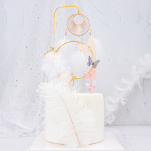 Butterfly Yarn Wire Dream Catcher Crown Cake Topper Acrylic Happy Birthday Wedding Party Decoration Baking Supplies Love Gift