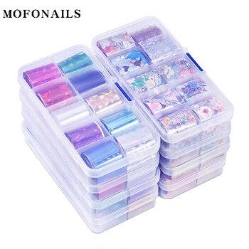 10 rollos/caja de transferencia de papel de aluminio 10 diseños de papel de aluminio de transferencia de lámina estrellada para decoración puntas decoración uñas pegatinas láminas