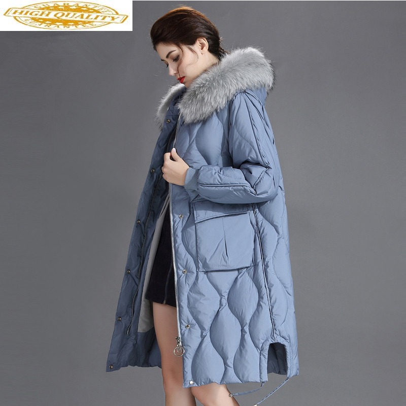 Down Jacket Woman Hooded Long Coats Winter Coat Women Clothes 2019 Raccoon Fur Collar Korean Parka Chaqueta Mujer MY1571