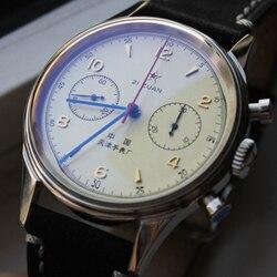 ساعة ريترو الرجال النورس حركة ساعة ميكانيكية موضة كرونوغراف مقاوم للماء الأحمر الخماسي الاكريليك ساعة الرجال Relogio الذكور