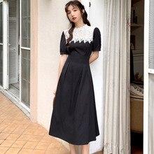 2020 New Fashion Summer Dress Women Short Sleeve Lace Patchwork Vintage Black Elegant Party Long Dre