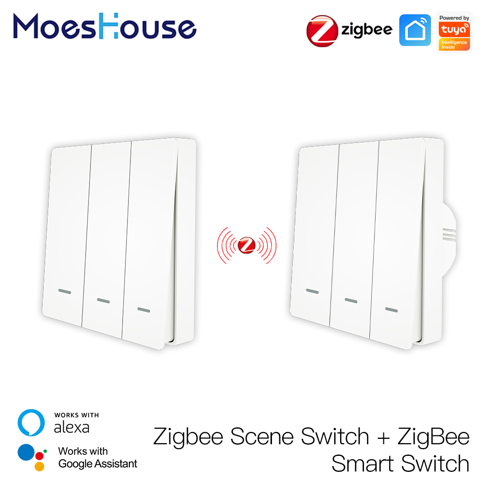 MoesHouse Tuya ZigBee Smart Light Switch with Scene Switch Kit No Neutral Wire No Capacitor Required work with Alexa Google Home