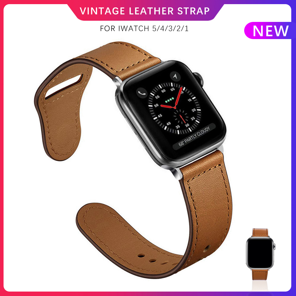 Brown Leather Band Loop For <font><b>Apple</b></font> <font><b>Watch</b></font> 4 3 <font><b>2</b></font> 1 38mm 40mm Men Strap for iwatch 5 watchband 44mm <font><b>42mm</b></font> correa <font><b>pulseira</b></font> Bracelet image