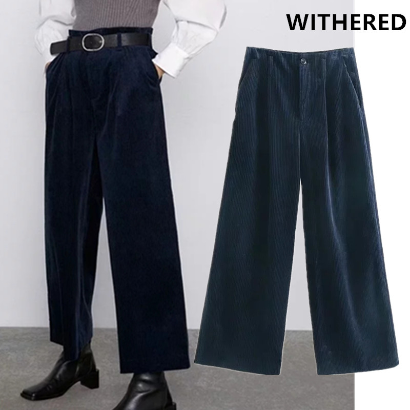 Withered England Simple Solid High Waist Loose Corduroy Loose Wide Leg Pants Women Pantalones Mujer Pantalon Femme Trouser Women
