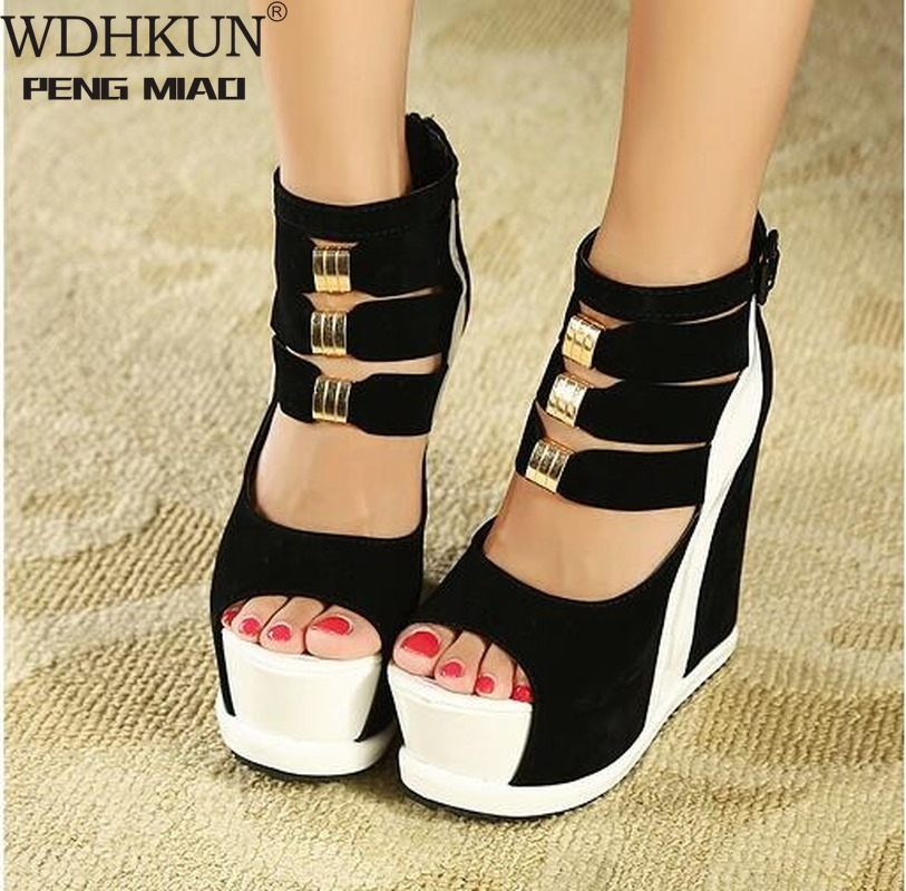 Woman Shoes 2020 Summer Genuine Women Platform Thick Soles Sandals Wedges High Heel 14cm Peep Toe Mixed Colors Sexy Shoes