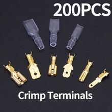 200 pces/50 pares masculino fêmea spade friso terminais luva fio envoltório conector para 22-16 awg 0.5mm2-1.5mm2 2.8mm 6.3mm 4.8mm