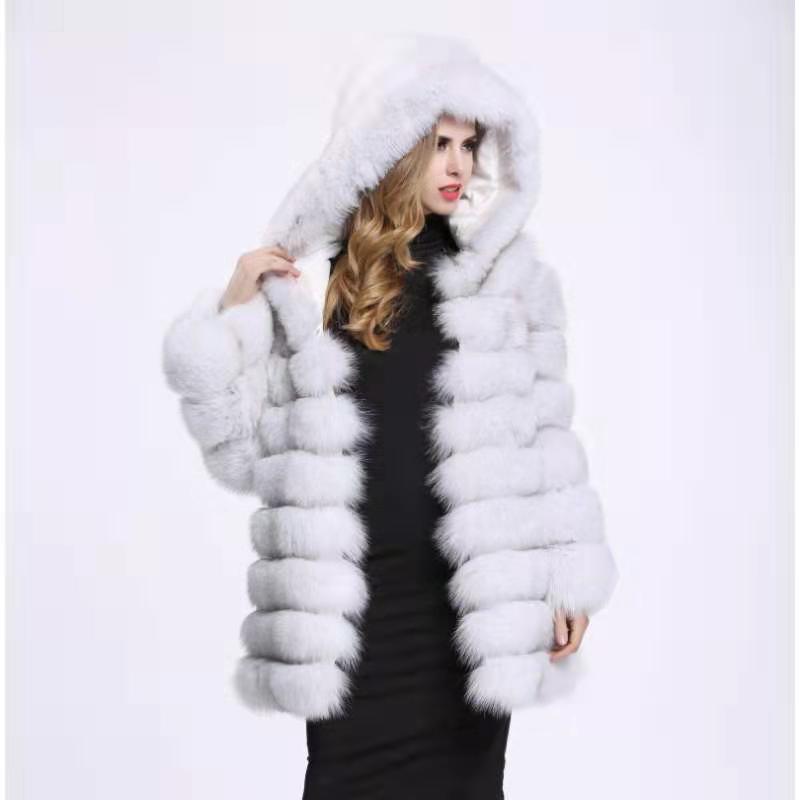 Naturalne foxfur odpinany deformacji prawdziwe futra lisa kieszeń długi płaszcz kamizelka kamizelka moda gruba ciepła kurtka kurtka z wełny kamizelka kobiet w Prawdziwe futro od Odzież damska na  Grupa 1