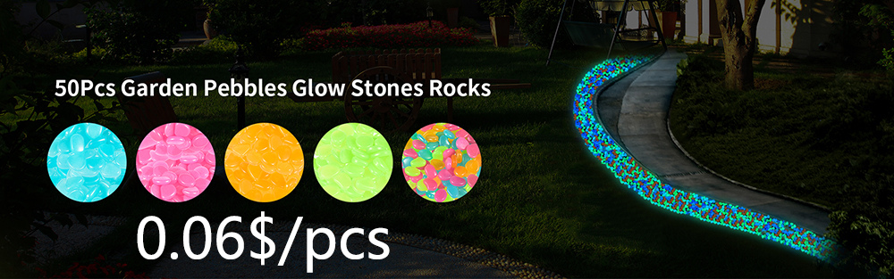 garden pebbles glowing stone