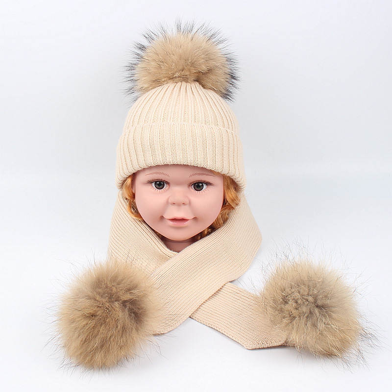 Knitted Winter Hat Scarf Set Kids Thicken Warm Beanies Soft 2019 New Scarf For Girls Knitted Beanies Hat