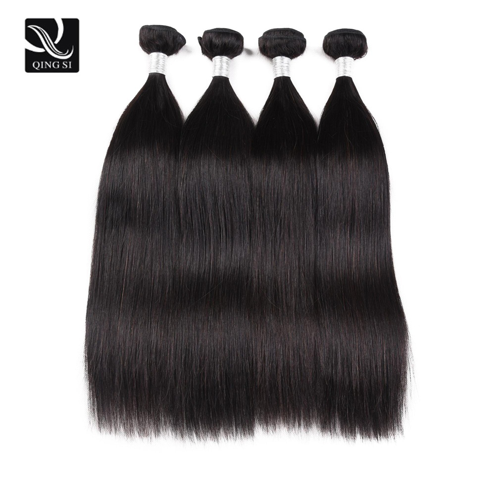 Human Hair Bundles 4 Bundles Straight Hair Bundles Human Remy HairBundles Natural Black Hair Extension Human Bundle Deals Woman