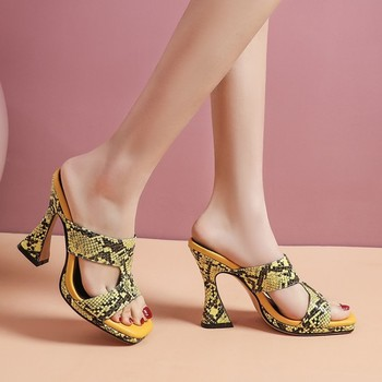 Womens Snake Python Pattern Mixed Colors Strange Super High Heel Sandals Cut Out Shoes Slingbacks Slipper Plus Size 6Colors New